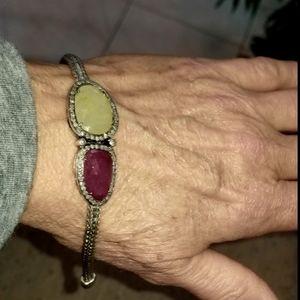 John Hardy Unique silver diamond sapphire bracelet